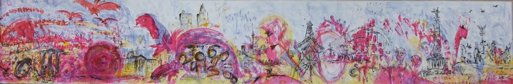 "BerlinSouvenir – StadtLeben XI"", Tusche auf Leinwand, 160 x 1000 cm, signiert 2014"