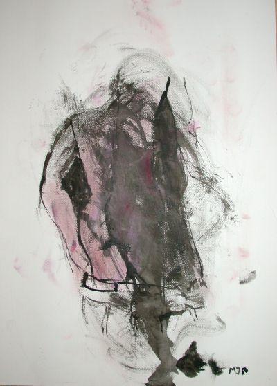 Mané Wunderlich Zeichnung Pferdestärke Tusche auf Papier 48 x 34-cm signiert 2013