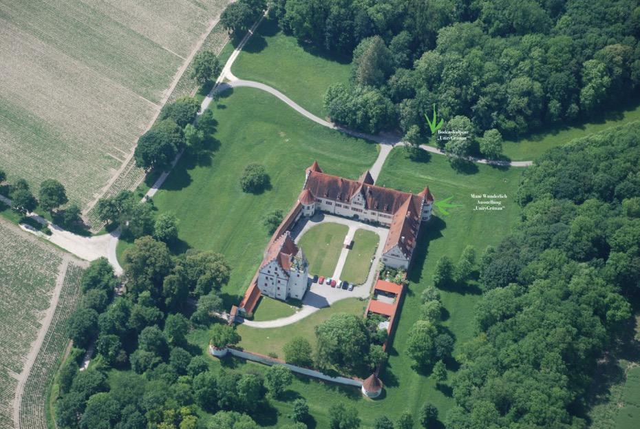 Ausstellung ManéWunderlich_UnityGrünau_Flugbild Jagdschloss Neuburg Wittelsbacher