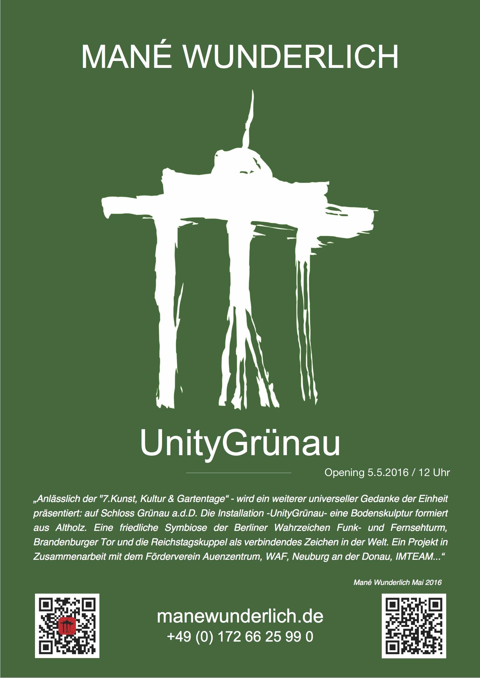 Plakat GrünauUnity Ausstellung_Wunderlich_WAF-Auenzentrum_anderDonau WAF Mané Wunderlich 2016